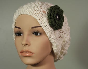 Super Slouchy Hat with or without Flower - Ivory - Handknit Cap - Women's - Olive Flower - Interchangeable