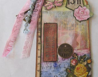 Sewing inspired, mixed media tag,Pink,Yellow,Alterations,Butterflies,Ribbons,Bulldog clip,Scissors charm,Sewing machine charm,