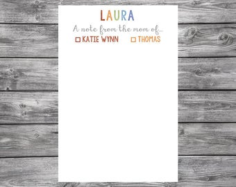 From the mom or dad of- From the parents of- Notepad-Personalized- 4x6