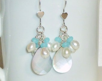 Black Lip Shell Cluster Pearl and Recycled Sea Glass Sterling Silver Earrings
