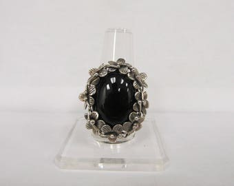 925 Silver Handmade Onyx Floral Ring W #802