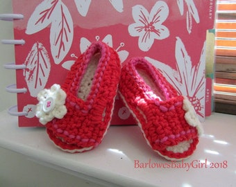 NEW - Buggs - Crochet Girl's Side Button Closure w/ Flower Accent Sandal Red and Hot Pink - Customize Your Color