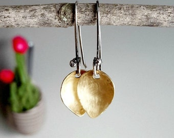 Sale - Petal Earrings, Brushed Brass, Sterling Silver, Nature Earrings, Botanical Jewelry, Organic Jewellery, Gold Flower Pod Petals