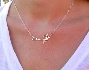 Silver Love Bird Necklace - Silver Necklace - Pendant Necklace