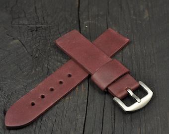 Handmade Leather Men's watch strap Burgundy 18mm 20mm 21mm 22mm 24mm 26mm watch band