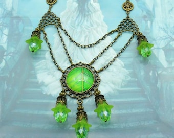 Elf Necklace with glass cut tropical green leaf COK-bro-01