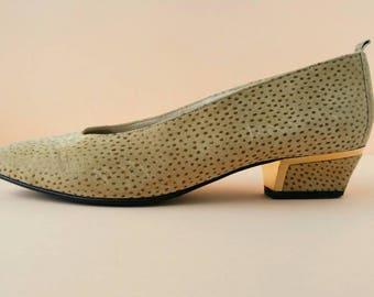 Vintage Tan Faux Suede Block Heels - Size 6.5 - Made in Germany