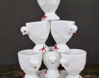Six Westmoreland Milk Glass Chicken Egg Cups