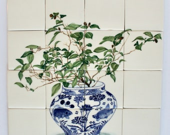 Blue and White Mural - Lemon Tree