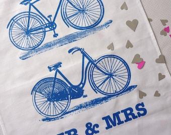 Mr & Mrs Bicycles Wedding gift tea towel classic blue