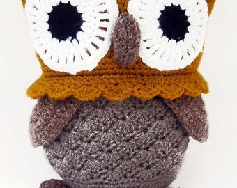 Free Shipping,Owl Crochet Amigurumi, Brown Crochet Owl, Large Stuffed Owl Toy, Crochet Stuffed Animals, Crochet Toy Owl, Owl Soft Toy
