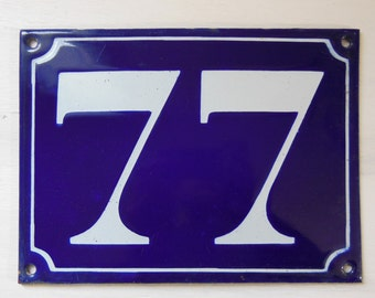Vintage French enamel house NUMBER SIGN 77. White and blue. LARGE