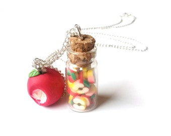 Apple Necklace Bottle Necklace ( food necklace miniature bottle gift for her polymer clay jewelry bitten apple red necklace mini food )