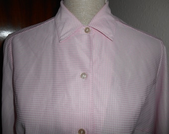 Cute Vintage Retro Pastel Pink & White Gingham Check 1960s Shirt Blouse By St Michael UK Size 14 16