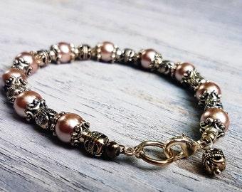 Rose Glass Pearl and Tibetan Silver Bracelet. Beaded Bracelet.  Lobster Claw Closure.  JemstoneZ Bracelet.