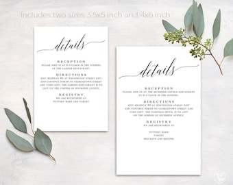 Wedding Details Card, Printable Details Card Template, Simple Details Card, Information Card, D02
