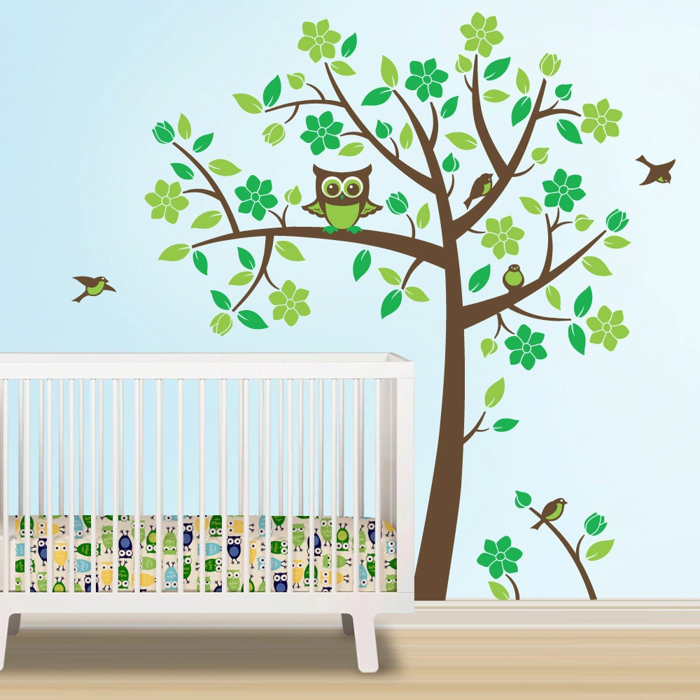 ?zoom  sc 1 st  Etsy & Owl Tree Decal Owl Nursery Theme Tree Wall Decal to match