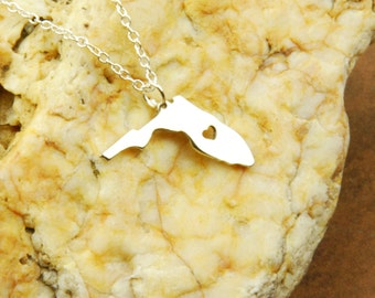 Florida State Necklace, Dainty Florida Charm, Florida Pendant Made in USA!!