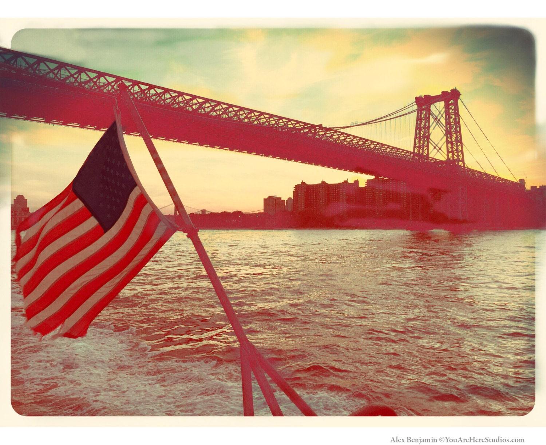 Williamsburg Bridge American Flagge Fotografie Brooklyn