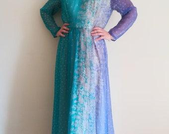 VERA MONT DRESS Woman Prom Dress 70s Woman Evening Dress Aquamarine Violet Floral Dress Elastic Waistband sz. 44