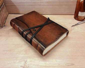 Ledertagebuch oder Notizbuch, braun Antik Leder - der Reisende