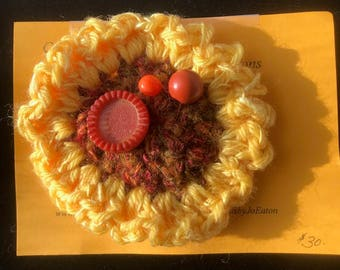 Sunflower Vintage Button Pins with Crocheted Button Back