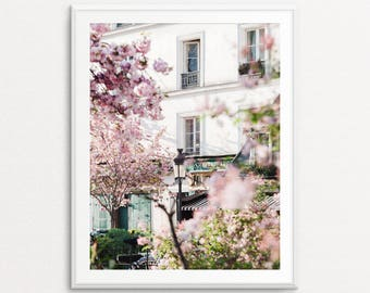 Paris Photography, Shakespeare and Company Photo, Paris Print, Paris Decor, Paris Wall Art, Paris Cherry Blossoms, Springtime in Paris