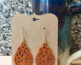 Real Leather Earrings | detailed, intricate cut design
