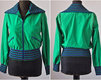 Vintage Green Bomber Jacket Rainbow Ribbed Mother Lode Size Small