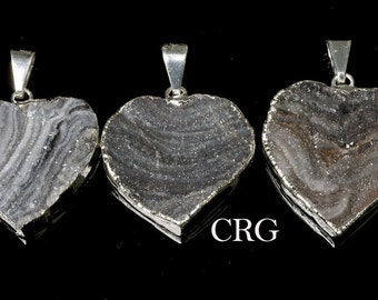 Silver Plated Chalcedony Agate Druzy Heart Pendant (DR34CN-B)