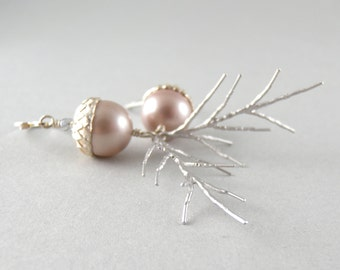 Elegant Champagne Swarovski Pearl and Sterling Silver Acorn and Pine-needle Earrings with Free USA Shipping