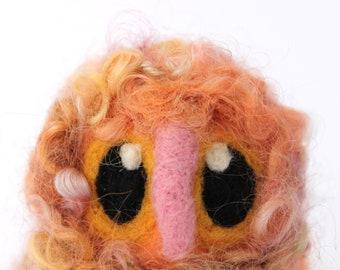 Owl Baby, Felt Owl, Peach Raspberry Ripple, Needle Felted Limited edition Owl Baby in Hand Dyed Wensleydale Wool