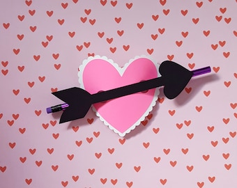 pencil holder valentine card making kit - makes 25 DIY cards for school or fun __pencils NOT included__