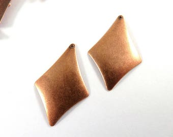 10 Diamond Charm Drop Antique Copper Kite 30x20mm Stamping - 10 pc - 5096