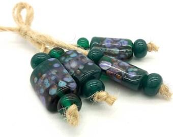 Lampwork beads handmade Beads supplies jewelry Beads for jewelry making Murano beads Set beads Beads SRA Beads  green, blue, sea, purple.