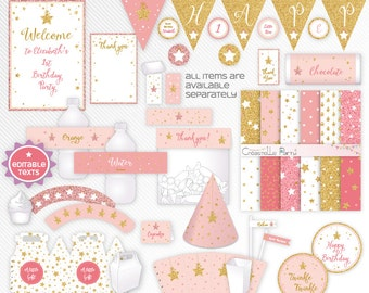 Twinkle little star - pink and gold glitter editable printable party decoration package - INSTANT DOWNLOAD - A4 & LETTER