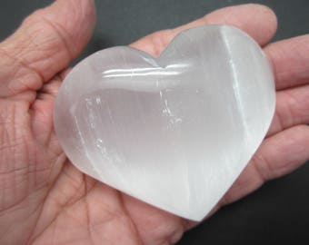 Large SELENITE HEART Polished Palm Stone Morocco 162g