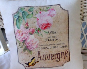 French label accent pillow - Vintage French Pillow - Pink Roses and yellow butterfly - Throw Pillow - French Country - Paris pillow