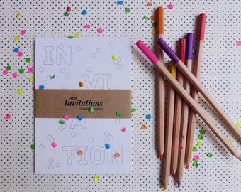 Cards 10 invitations to colour - match (10 x 15 cm) illustration letterpress personalize to your events