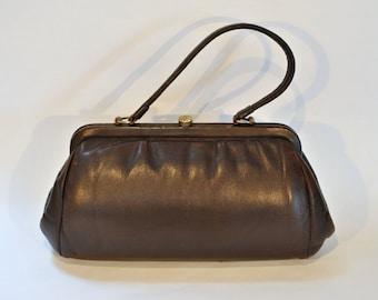 Vintage MELANO Leather Purse Clutch / Dark Brown / Handbag