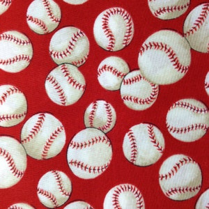 One 25 Inch Piece of Fabric Material - Baseball, Red Background