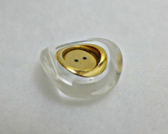 3 Resin and metal buttons - gold, clear - 23 mm