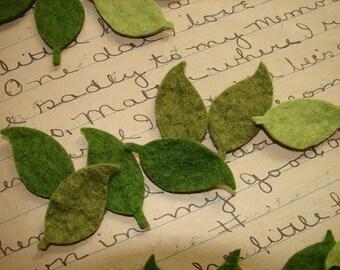 Wool Blend Felt Die Cut Leaves - Great with Flowers - Set of LARGE