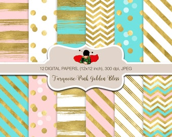 Turquoise and Pink Digital Papers for personal and commercial use - Gold - Pink - Blue