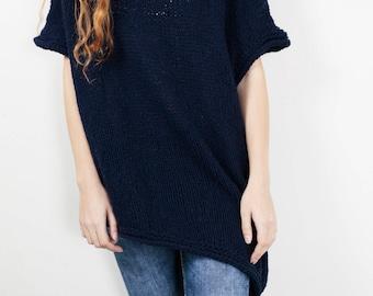 Hand Knit oversize sweater Long wool Drop shoulder sweater asymmetrical NAVY pullover