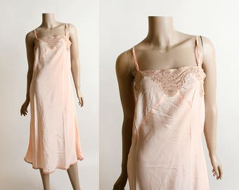 Vintage 1940s Slip - Soft Peach Pink Rayon Nightgown Slip with Lace - Small Medium