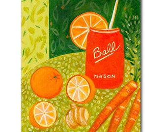 ORIGINAL vegetarian painting CARROT Juice with oranges and ginger kitchen art acrylic painting by Canadian artist TASCHA