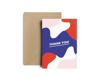 Carte de remerciement, carte thank you, remerciement pour évenements, soirées, fêtes, mariages, mots doux, carte +enveloppe Kraft recyclé