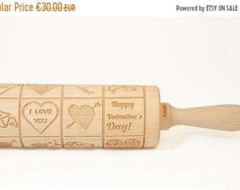 SALE Rolling Pin engraved HAPPY VALENTINES  - embossing rolling pin, laser engraved rolling pin. <3 Valentines gift
