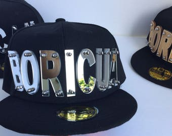 BORICUA Puerto Rico baseball hat cap letters mirror